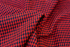 D35 RED & NAVY HOUND TOOTH CHECK FELTED WOOL COTTON BLEND MADE IN ITALY