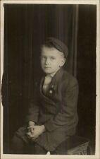Little Boy in Jacket Knickers & Newsboy Hat c1910 Real Photo Postcard
