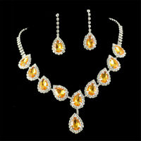 TearDrop Yellow Citrine Austrian Crystal Elements Stud Earrings Necklace Sets