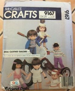 OLDER MCCALL'S CRAFTS SEWING PATTERN FOR DOLLS CLOTHES 9167, UNCUT, 16 inch doll