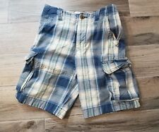 Abercrombie Kids Boys Pants Cargo Shorts Blue White Plaid Summer Cotton Size 14