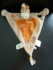 40/ DOUDOU PLAT TRIANGLE NOUKIE'S ZEBRE CHEVAL ORANGE BEIGE - ETAT NEUF