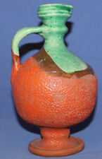 Hand made glazed redware pottery pitcher