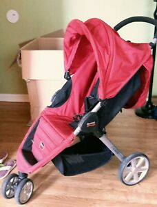 Britax B-Agile 3-Wheel Jogger Stroller Red - Birth to 55 lbs Infant Toddler