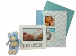 Baby Boy Memory Book Footprint Touch Pad + Picture frame + plush toy gift set