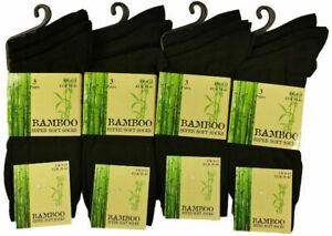 3 Pairs Men's Dark Black Luxury Bamboo Super Soft Anti Bacterial Socks 6 11