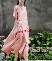 Womens Summer Beach Loose Long Dress Cotton Linen Retro Short Sleeve Round Neck