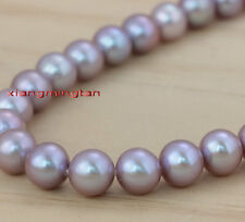 """AAAAA luster 17""""9-10mm REAL NATURAL south sea PINK purples pearl necklace 14K"""