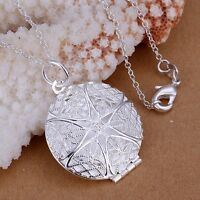 925 Sterling Silver Filled Hollow Filigree Locket Charm Pendant Necklace Chain