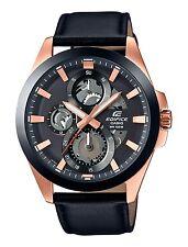 Edifice Mens Steel Case Black Leather Strap watch. Industrial Look. ESK300GL-1A