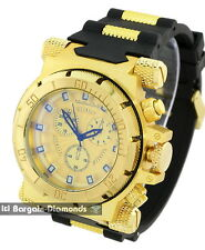 mens big heavy gold clubbing watch gold dial bullets black strap designer