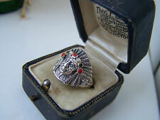 STERLING SILVER ONYX CORAL MOP NATIVE AMERICAN INDIAN CHIEF SIGNET RING SIZE R