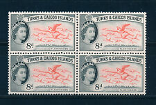 TURKS & CAICOS ISLANDS 1957 DEFINITIVES SG245 8d (BIRDS) BLOCK OF 4 MNH