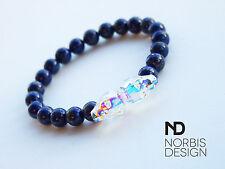 Men Lapis Lazuli Double Skull Bracelet with Swarovski Crystal 7'' Elasticated