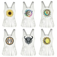 Tassel Short Vest Sleeveless Gothic Shirt Casual Blouse Tank Tops Women Print