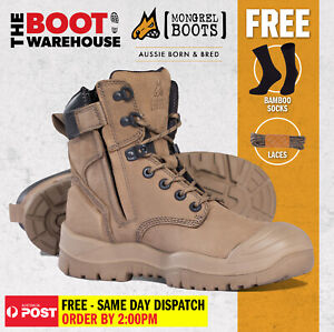 Mongrel 561060 Work Boots. Safety Steel Toe Cap. 'STONE'  High Ankle, Zip Sider.