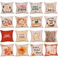 18'' Xmas Christmas Linen Cotton Pillow Case Cushion Cover Sofa Home Decoration