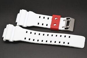 16MM WHITE RED RUBBER WATCH BAND CASIO GSHOCK GA300 GA100 GW8900 GA120 GD110