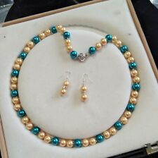 8mm multicolor South Sea Shell Pearl necklace AAA 18 inches+Earring j4k