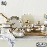 Stainless Steel 12 Piece Cookware Set Non Stick Cooking Pots and Pans Kitchen