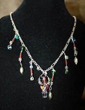 Sorcxado Corkscrew ~ Beaded Charmed Rhinestone Gem ~ Dragon Resistor ~ Necklace