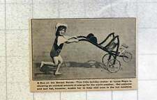 1921 Young Girl Running With Pushchair On Lyme Regis Sands