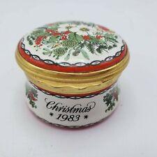 "Halycon Days Enamel Trinket Box 1983 Christmas ""Happiness & Peace at Christmas"""