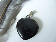 Edler 20 mm schwarzes Achat Herz Ketten Anhänger mit Edelstahl Kettenschlaufe