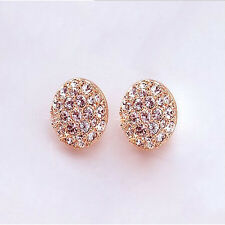 New Fashion Females Lady Elegant circle Crystal Rhinestone Ear Stud Earrings
