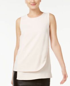 Alfani PRIMA Sleeveless Layered Shell Blouse Blush Beige