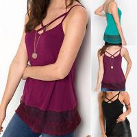 Fashion Women Lace Sleeveless Bandage Tank Tops Vest Cami Blouse Summer T-Shirt