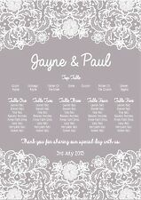pretty lace border design wedding table seating plan A3 - any cols. can print a2