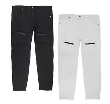 Men's Denim Moto Quilt Zíper Moda Casual Calças Stretch Jeans algodão mescla