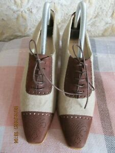 ladies front lace up leather and canvas heeled shoes beige size 5.5 to  6 new