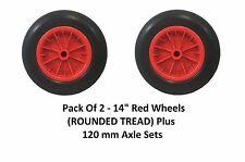 "2 Pack 14"" PU CARRIOLA Solido Rosso Ruota Trolley Round PNEUMATICO 120mm assi"