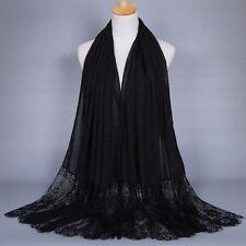 Floral Lace Edges Hijab Shawl Cotton Muslim Scarves Scarf Women Plain Maxi Scarf