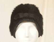 '50'S FRENCH VINTAGE FAUX FUR HAT/TOQUE 56 SIZE M
