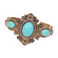Vintage Bohemia Turquoise Gemstone Cuff Bangle Women Tribal Ethnic Bracelet