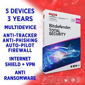 Bitdefender Total Security 2021 Multidevice 5 Geräte 3 Jahre, VOLLVERSION +VPN