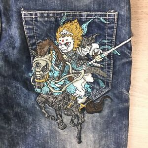 Jizo Embroidered Samuri on Horse Men's Jeans Size 32  L32 (AB16)