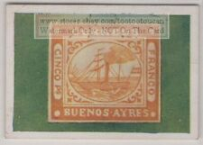 1930s Trade Ad Card - 1858 Argentina 5 Peso Ship of Buenos Aires Postage Stamp