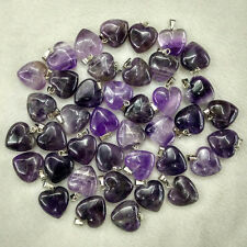 Natural amethyst stone Love Heart Charms Pendants 16mm 36pcs/lot Wholesale