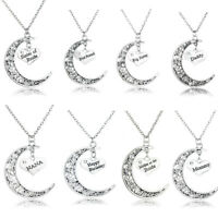 Vintage Moon Necklace For Mothers Fathers Grandmas Pendants Charms Wedding Gifts