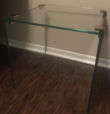Square Waterfall Design Tempered Glass End Table With Gold Tone Connectors
