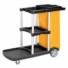 Commercial Cleaning Janitorial 3 Shelf Cart with Yellow Bag and Cover Black
