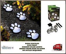 4 Solar Dog Cat Animal Paw Print Lights LED Lamp For Garden Path Outdoor Walkway