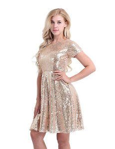 Women Shiny Sequins Bridesmaid Dress Cocktail Party Pleated Skater Evening Dress