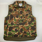 Vintage Trophy Club Mens Small Goose Down Feathers Insulated Camo Hunting Vest