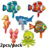 2Pcs Ocean Sea Animals Theme Foil Balloon Kids Inflatable Toys Party Supplies