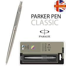 GENUINE PARKER CLASSIC STAINLESS STEEL BALL POINT PEN - SILVER TRIM - GIFT BOX